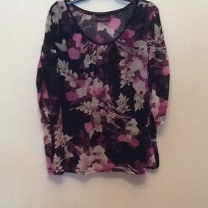 DanaBuchman 26/28 sheer floral 3/4sleeve blouse 💜